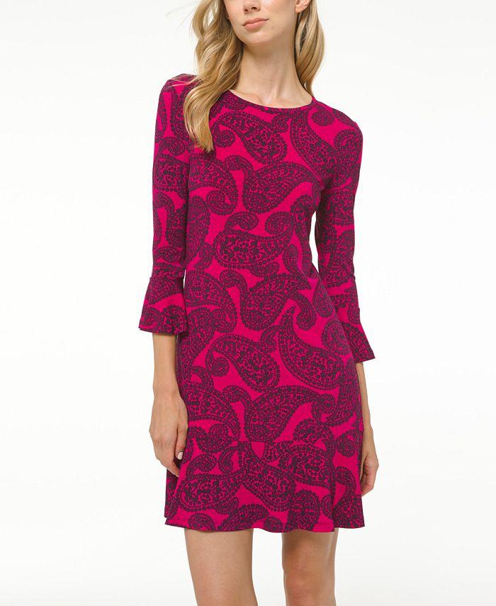 Michael Kors - Plus Size Printed Flounce Dress