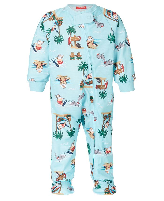 Family Pajamas - Baby Tropical Santa Footed 1-Pc. Pajama