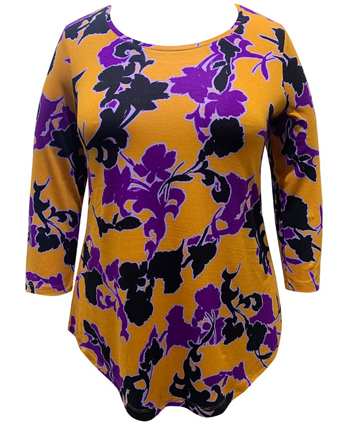 JM Collection - Plus Size Printed 3/4-Sleeve Top