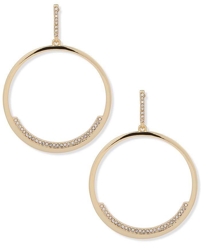 DKNY - Gold-Tone Pavé Drop Hoop Earrings