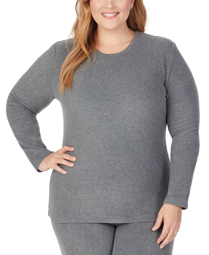 Cuddl Duds - Plus Size Fleecewear With Stretch Long-Sleeve Crewneck Top