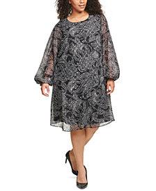 Calvin Klein Plus Size Paisley-Print Chiffon Trapeze Dress