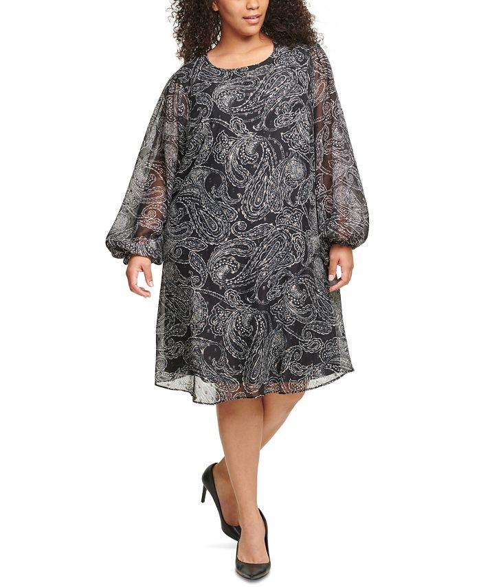 Calvin Klein - Plus Size Paisley-Print Chiffon Trapeze Dress