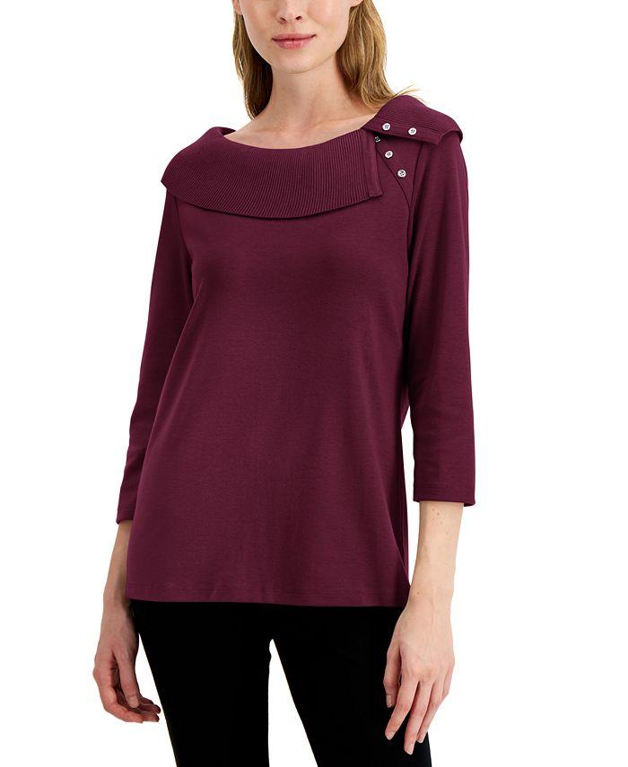 Karen Scott - Cotton Envelope Collar Top