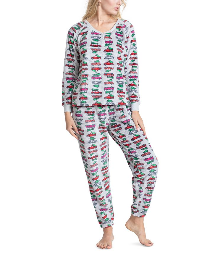 Muk Luks - Printed Dimple Fleece Pajama Set