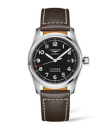 Longines Men's Automatic Spirit Stainless Steel Chronometer Brown Leather Strap Watch 42mm