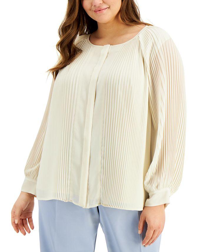 Alfani - Plus Size Raglan-Sleeve Pleated Top