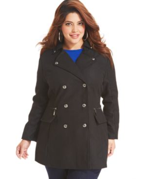 Dollhouse Plus Size Coat, Double-Breasted Military Pea Coat