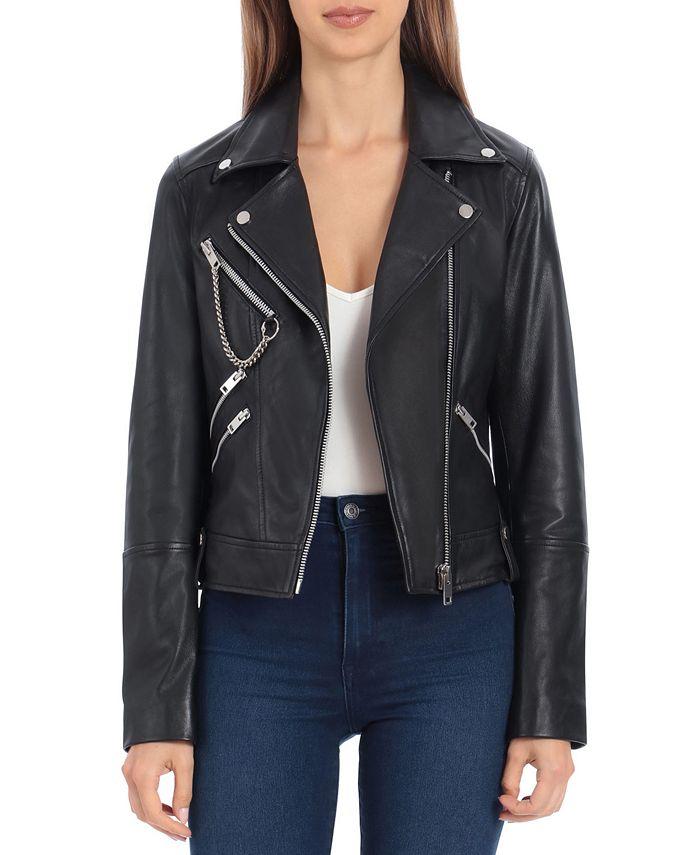 Avec Les Filles - Leather Hardware-Trimmed Moto Jacket