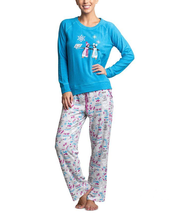 Muk Luks - Ribbed Stretch Fleece Penguins Pajama Set