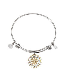 Disney Two-Tone Mickey Mouse Cubic Zirconia Snowflake Bangle Bracelet in Fine Silver Plate