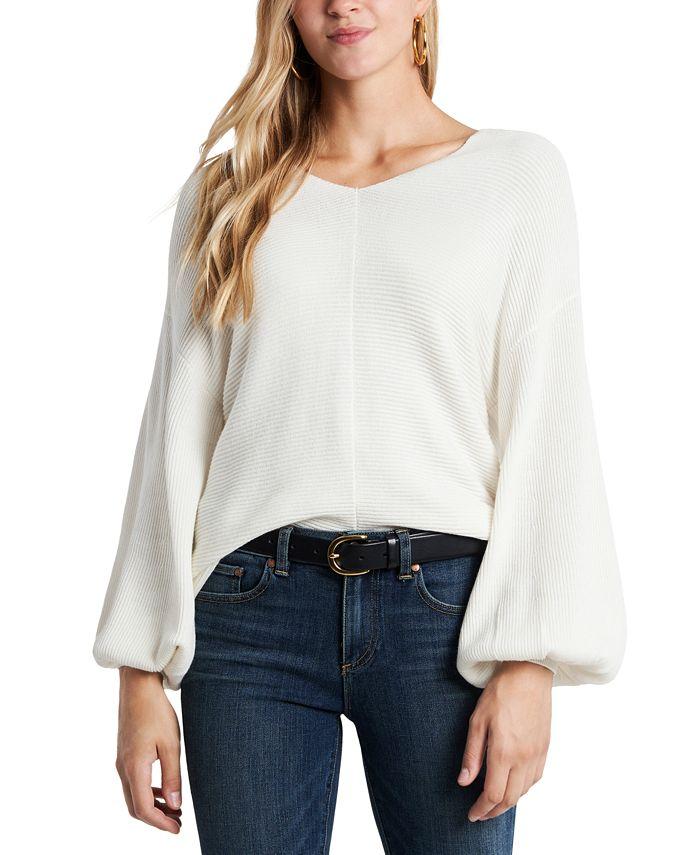 1.STATE - Rib-Knit Puff-Sleeve Sweater