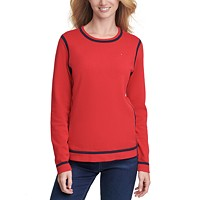 Deals on Tommy Womens Hilfiger Crewneck Tipped Sweater