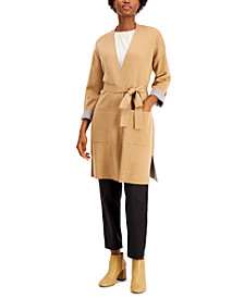 Eileen Fisher Bracelet-Sleeve Belted Cardigan Sweater