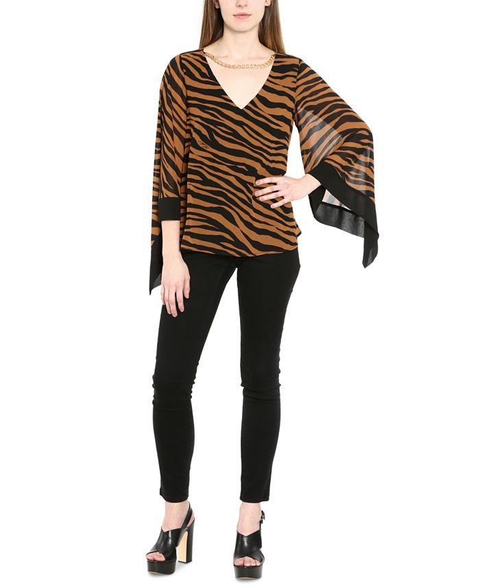 Michael Kors - Plus Size Zebra-Print Chain-Embellished Sheer-Sleeve Blouse
