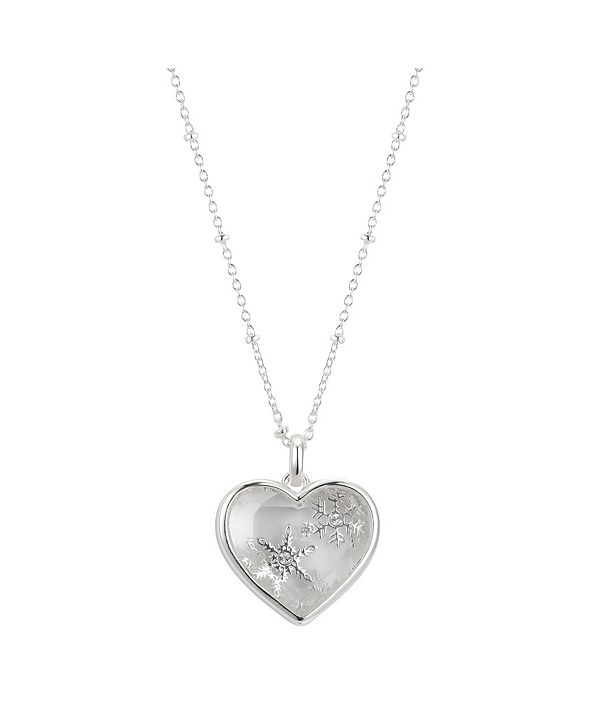 Unwritten Fine Silver Plated Snowflake Crystal Shaker Heart Pendant Necklace