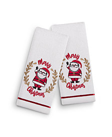 "Martha Stewart Collection Holiday Santa 2-Pc. 11"" x 18"" Fingertip Towel Set, Created for Macy's"