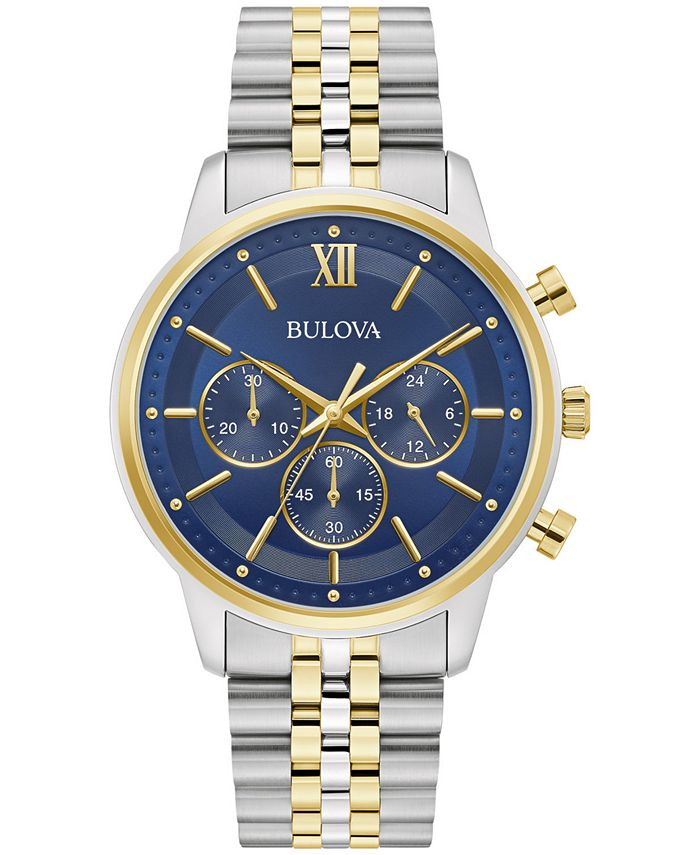 Bulova - Men's Chronograph Two-Tone Stainless Steel Bracelet Watch 41mm