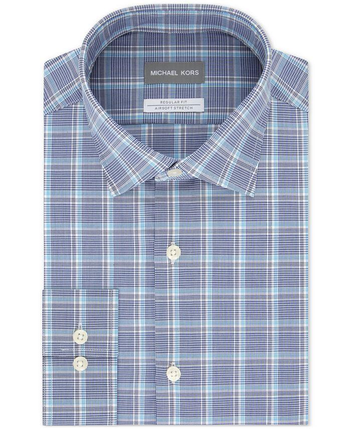 Michael Kors - Men's Classic/Regular-Fit Non-Iron Airsoft Performance Stretch Plaid Dress Shirt