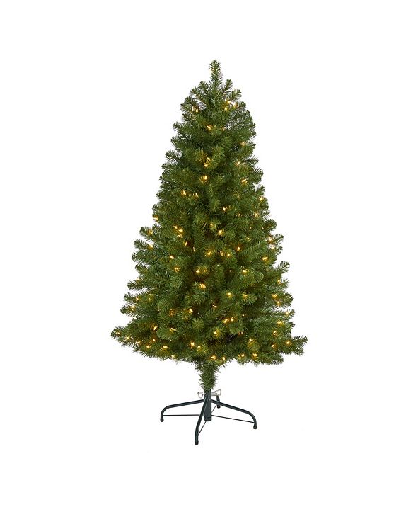 Nearly Natural Virginia Fir Artificial Christmas Tree with 200 Clear Lights and 379 Bendable Branches