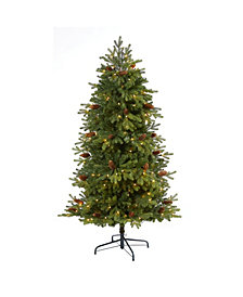 Nearly Natural 5.Yukon Mountain Fir Artificial Christmas Tree with 250 Clear Lights, Pine Cones and 800 Bendable Branches