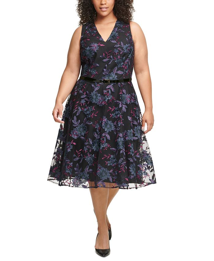 Tommy Hilfiger - Plus Size Belted Embroidered Fit & Flare Midi Dress