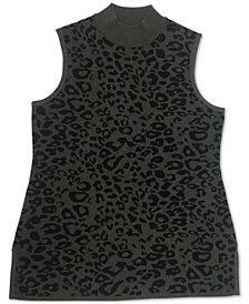 JM Collection Plus Size Leopard-Print Mock-Neck Sweater, Created for Macy's