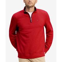 Tommy Hilfiger Mens TH Flex French Rib Quarter-Zip Knit Pullover