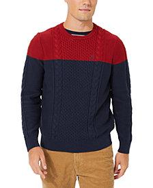 Nautica Men's Colorblocked Cable Crewneck Sweater