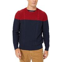 Nautica Mens Colorblocked Cable Crewneck Sweater Deals