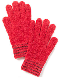 Charter Club Striped-Cuff Chenille Gloves, Created for Macy's
