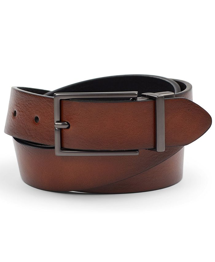 Alfani - Men's Reversible Gunmetal Faux Leather Belt
