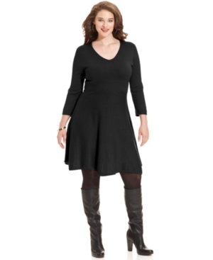 Spense Plus Size Three-Quarter-Sleeve A-Line Sweater Dress