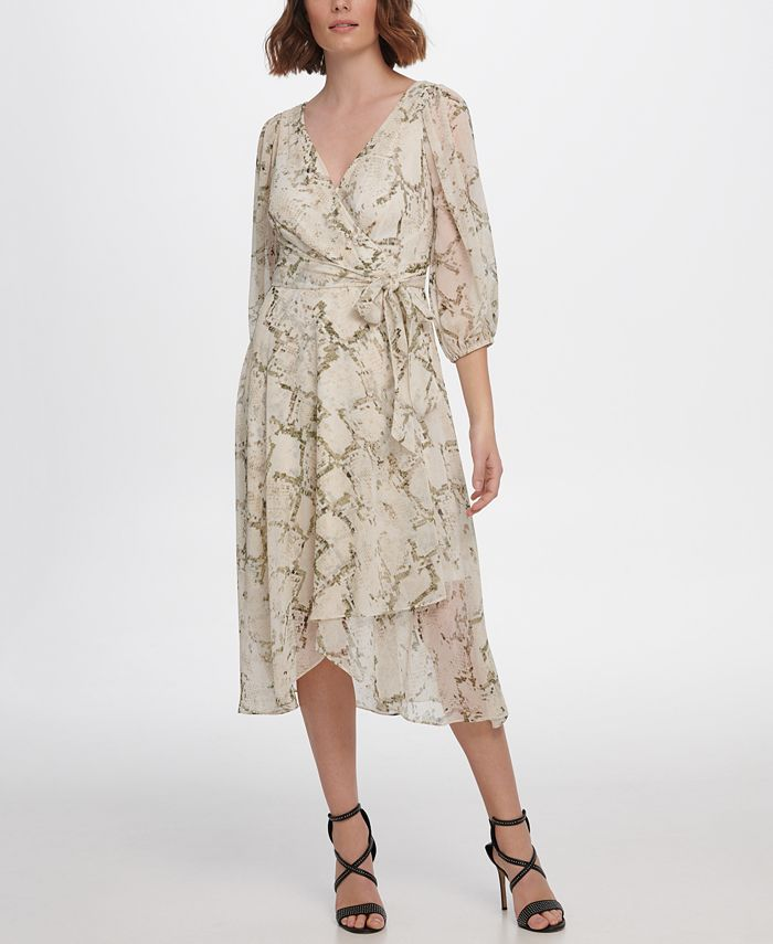 DKNY - Balloon Sleeve V-Neck Floral Wrap Dress