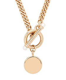 brook & york 14K Rose Gold Plated Stella Pearl Toggle Necklace