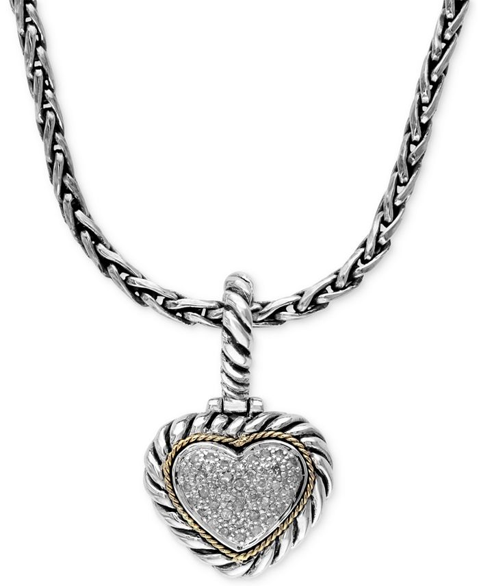 EFFY Collection - Diamond Heart Pendant (1/5 ct. t.w.) in Sterling Silver and 18k Gold