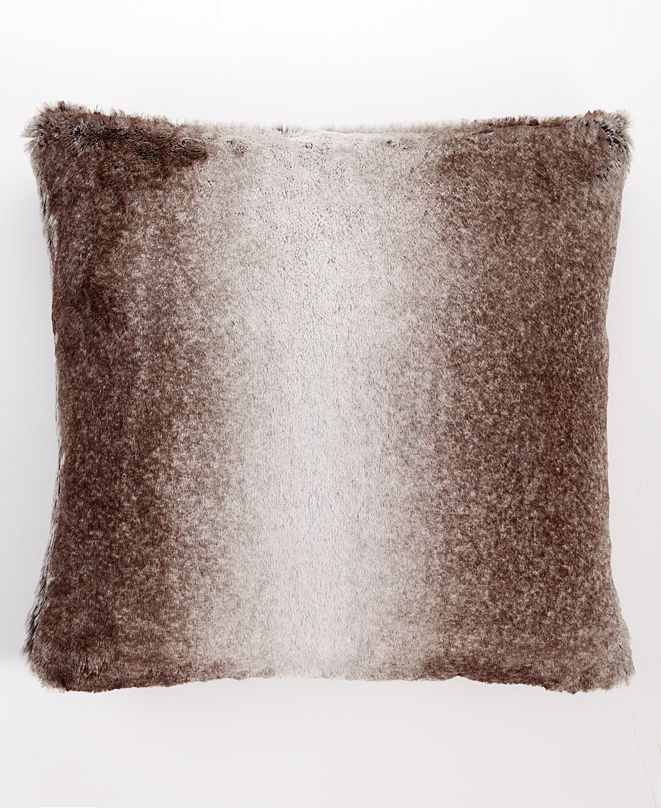 """Martha Stewart Collection Ombre Faux Fur 20"""" x 20"""" Decorative Pillow, Created For Macy's"""