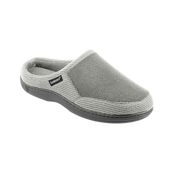 Isotoner Men's Memory Foam Microterry and Waffle Travis Hoodback Slippers