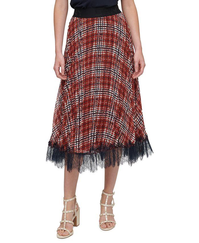 DKNY - Pleated Lace-Trim Skirt