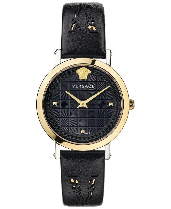 Versace - Women's Swiss Medusa Chain Black Leather Strap Watch 37mm