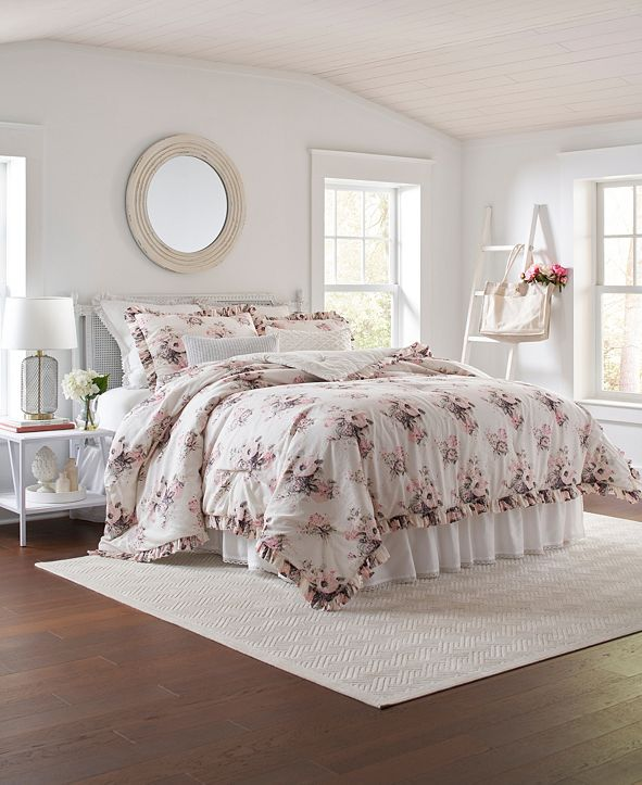 Laura Ashley Viola King Comforter Set, 3 Piece