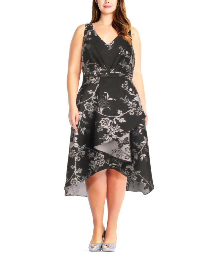 Adrianna Papell Plus Size Floral-Print High-Low Dress & Reviews - Dresses - Plus Sizes - Macy's