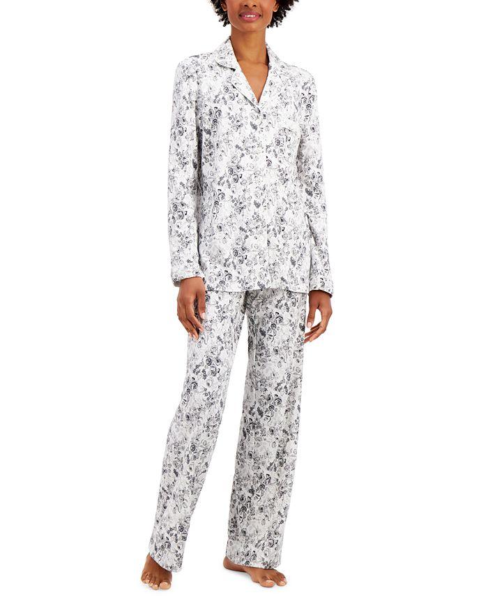 Charter Club - Cotton Button-Front Top & Bottoms Pajamas Set