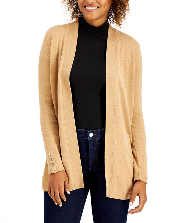 Charter Club - Solid Curved-Hemline Cardigan Sweater