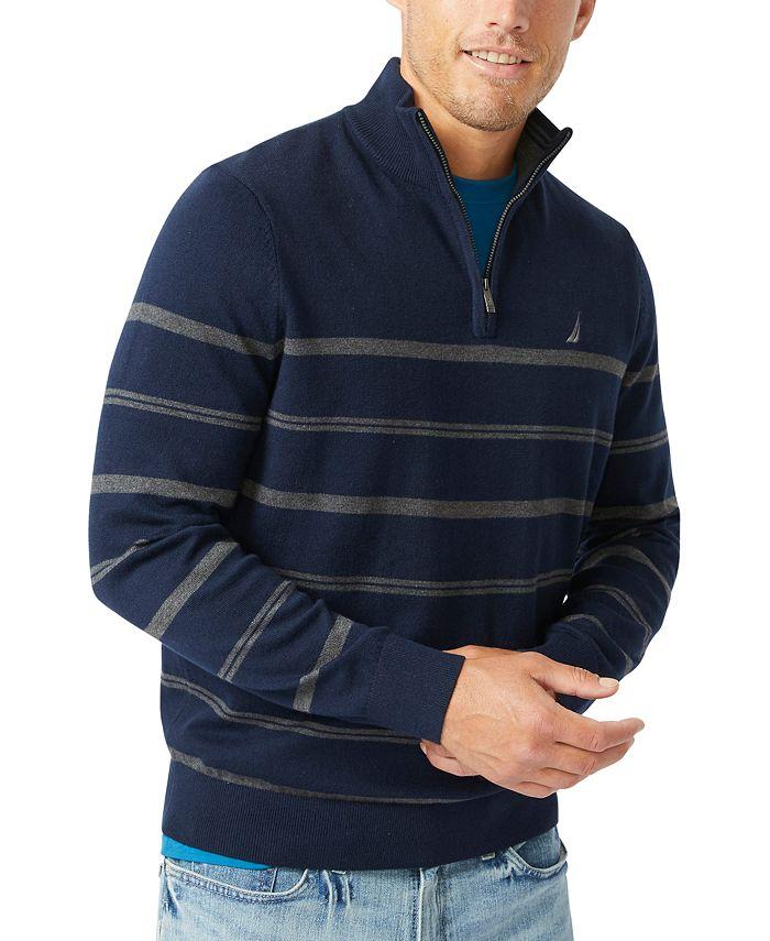 Nautica - Men's Navtech Striped Quarter-Zip Sweater