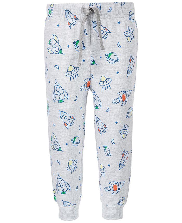 First Impressions - Baby Boys Rocket-Print Jogger Pants