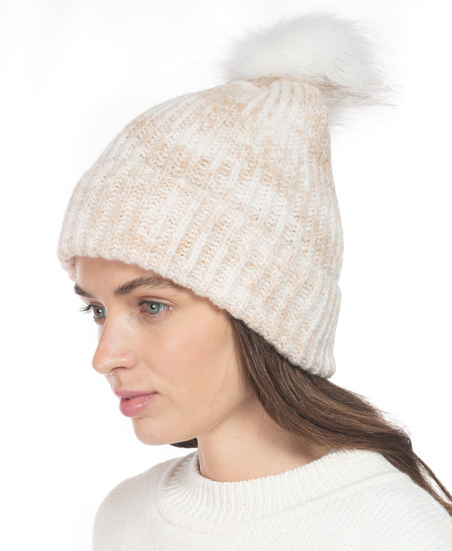 Rib Marled Beanie Hat With Faux-Fur Pom  $4.80