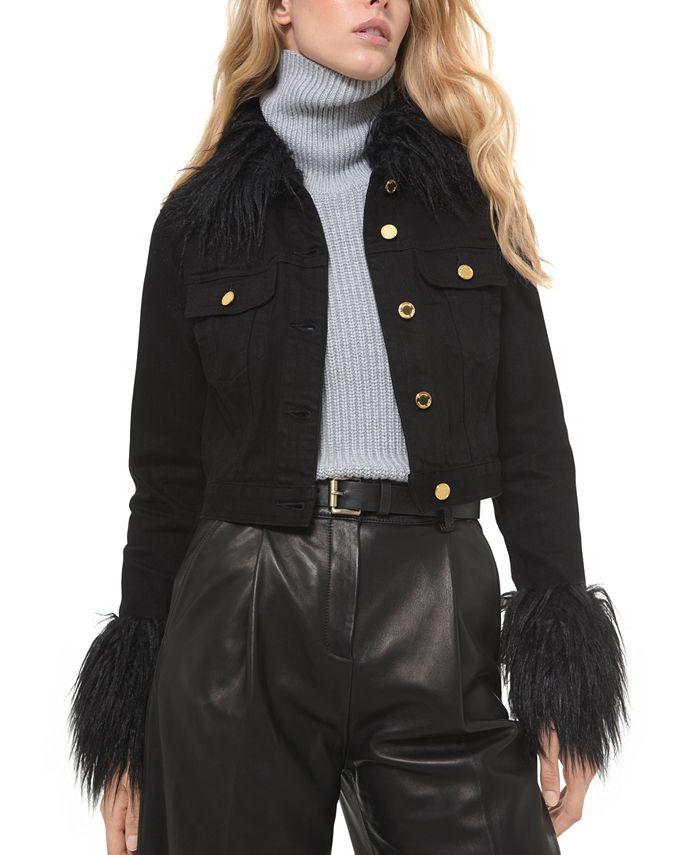 Michael Kors - Faux-Fur-Trimmed Button-Front Denim Jacket
