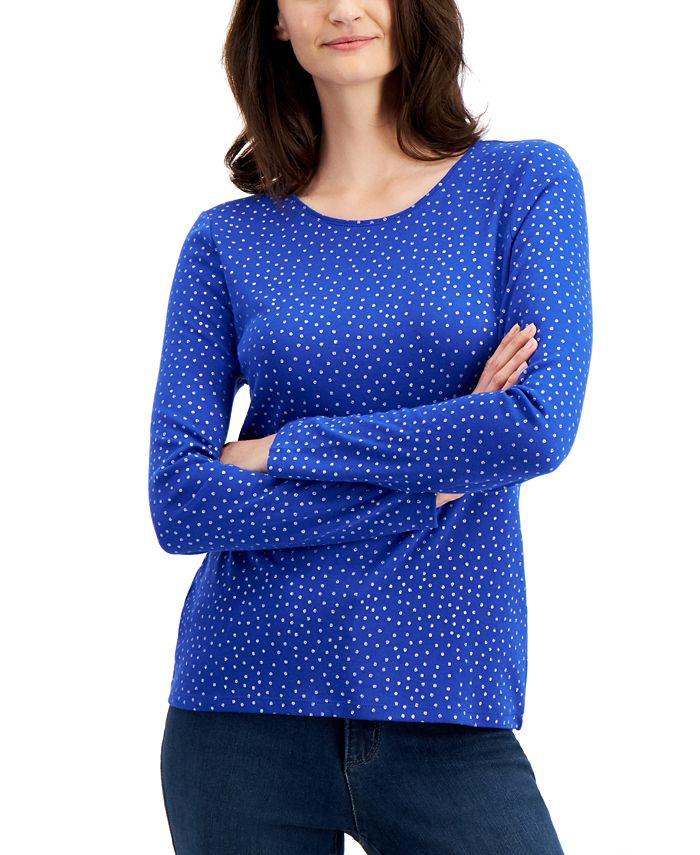 Charter Club - Cotton Metallic-Dot T-Shirt