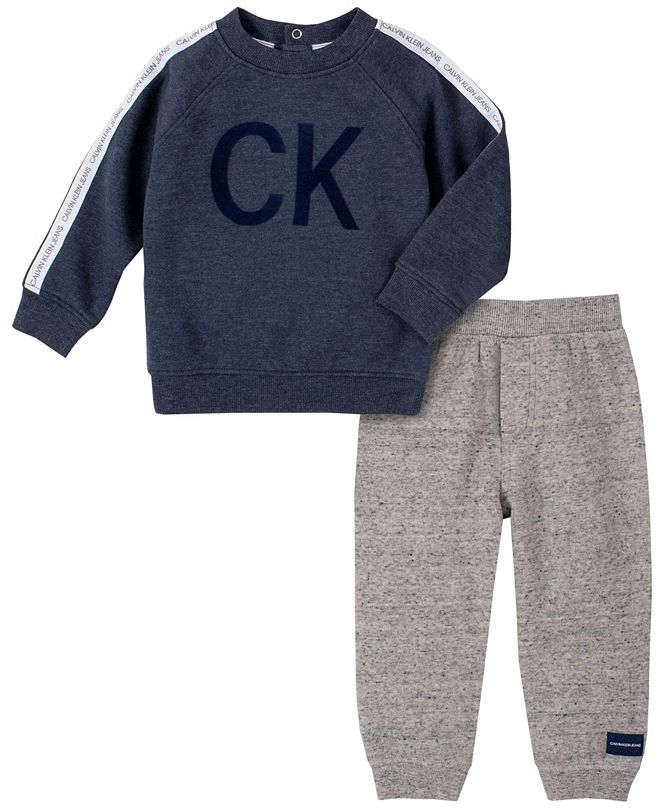 Calvin Klein Baby Boys Heather Fleece Pant Set